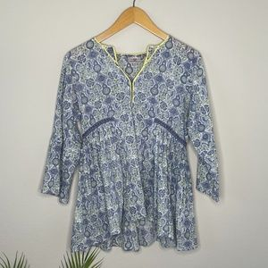 Anokhi Cotton Bohemian Blue Floral Print Top Sz XS